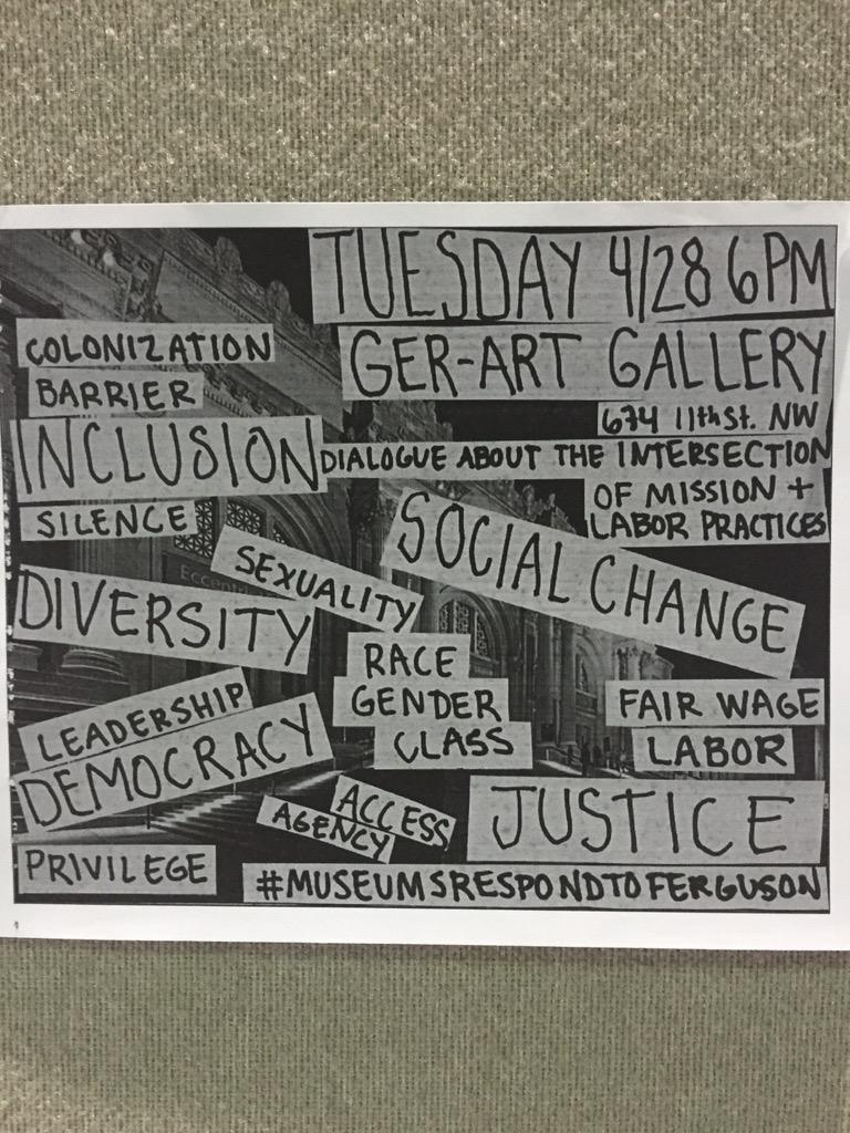 Everyone! TONIGHT #MuseumWorkersSpeak rogue session 6-730 let's talk #inclusion #labor #equality #aam2015 http://t.co/1FwApwvOX6