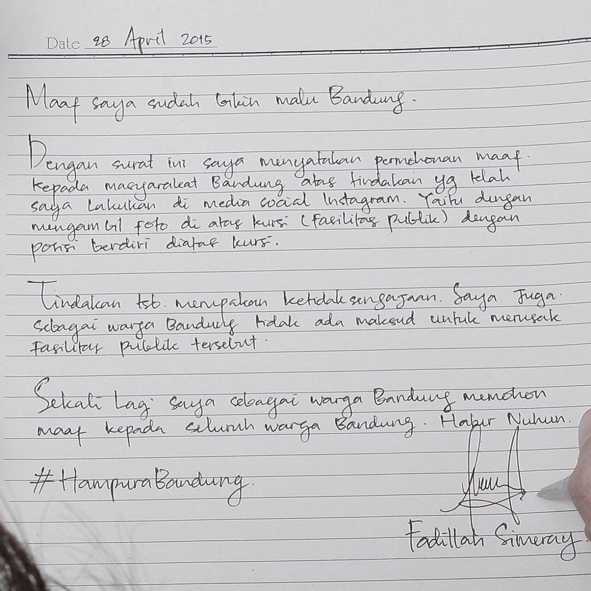 kami keluarga besar SMITH mendukung permohonan maaf @fadillahsimeray kepada warga Bandung cc: @ridwankamil @infobdg http://t.co/StEe17Hxp7