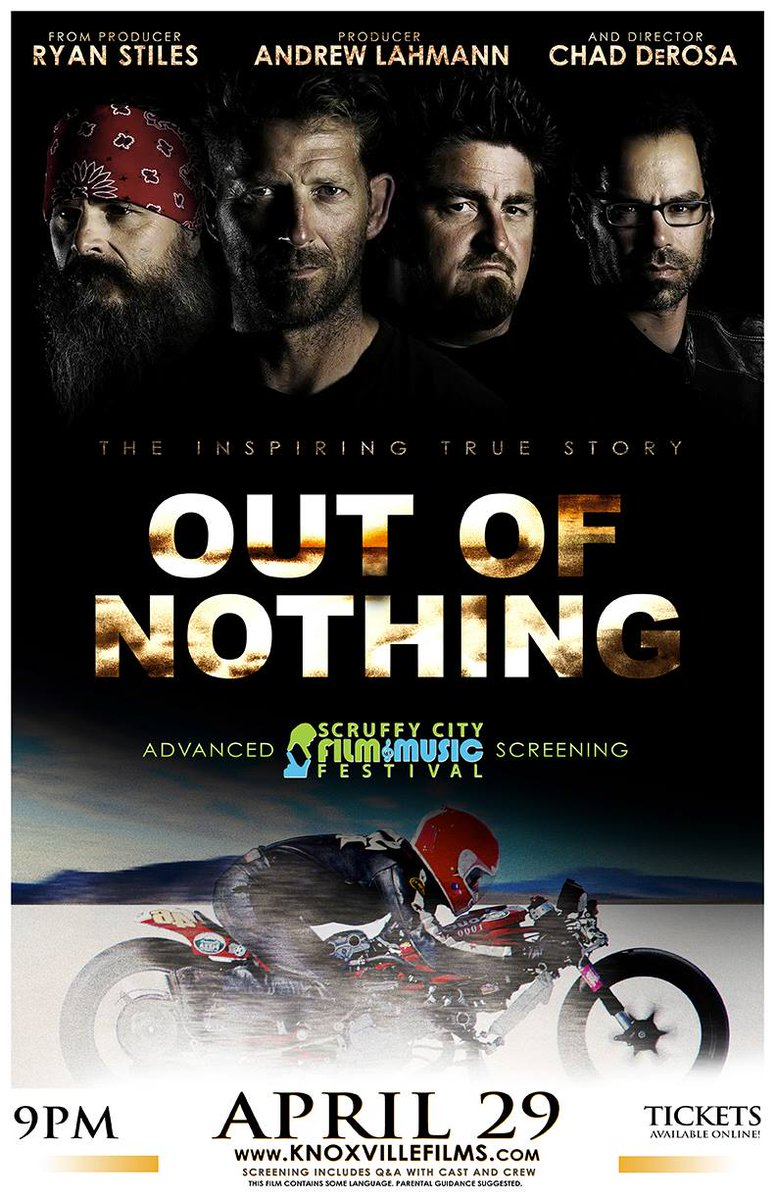 Out of Nothing presented by @SmokyMtnHD tonight at 7pm @ScruffyCityHall. Check out the bikes on the Red Carpet! http://t.co/Wg22gf0i8m