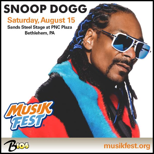 .@SnoopDogg is coming to #Musikfest 8/15! Tix on sale next week: http://t.co/pt7DC5xHyf #DropItLikeItsHot cc: @B104 http://t.co/OIZyaN6UAK
