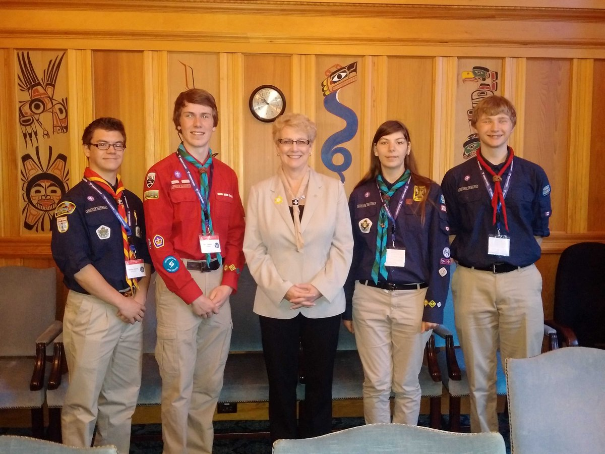 With scouts Ryan from Trail , Kiara from Chemainus, Owen & Brayydyn from Kamloops. #scoutsatleg15