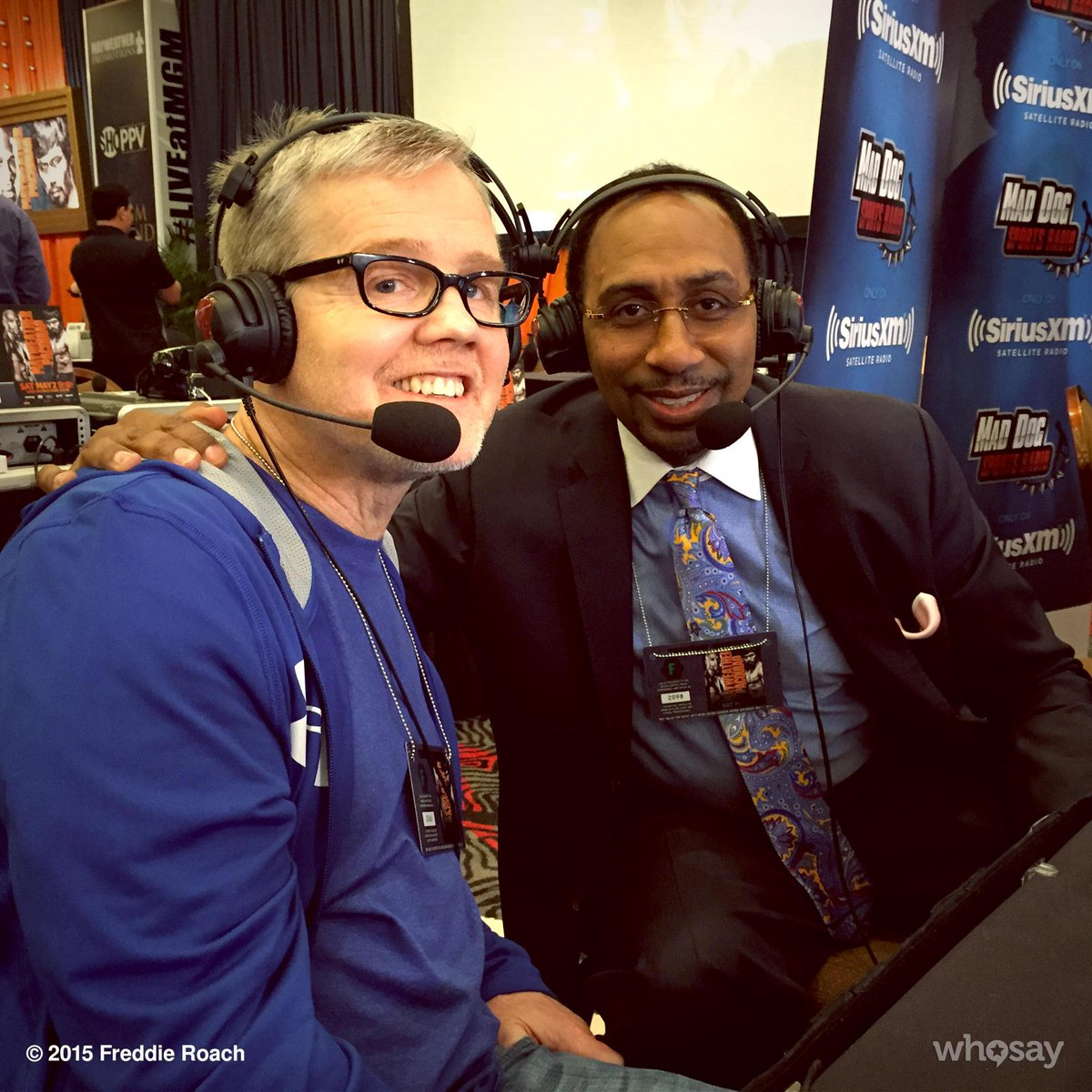 Doing radio row interviews with @stephenasmith #maypac http://t.co/IixFPDi3xA