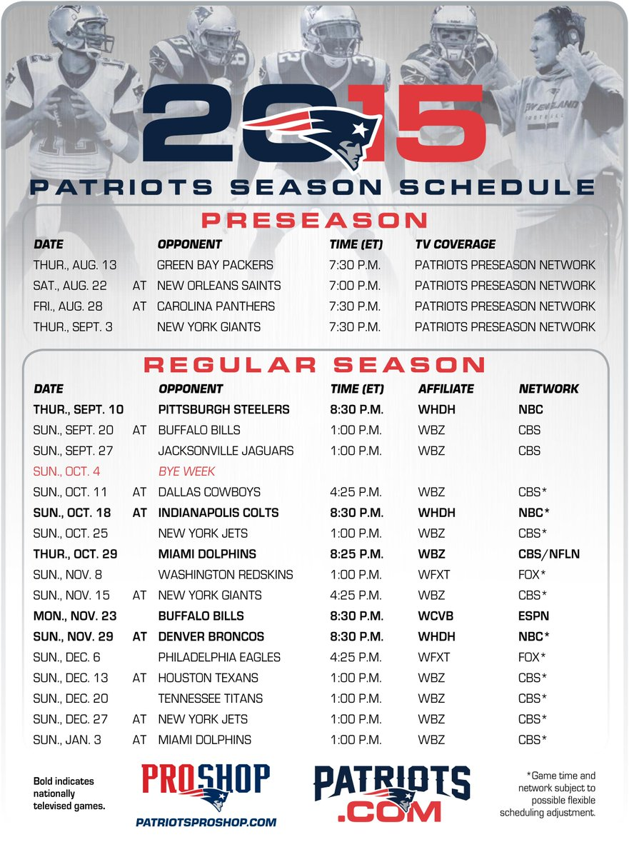 This is a photo of Zany Printable Patriots Schedule