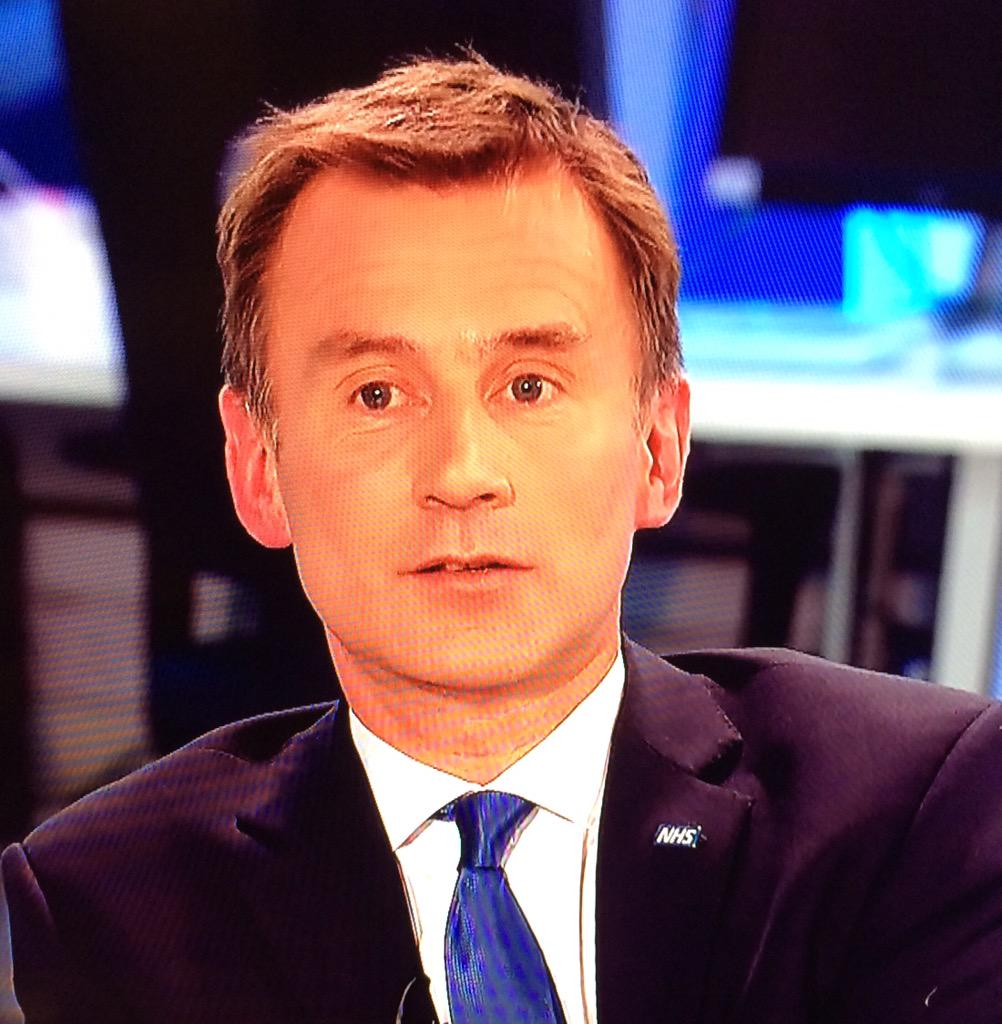 The NHS lapel badge Jeremy Hunt wears is the exact size to which he'd like to shrink the NHS #newsnight http://t.co/pDuPG567Vt