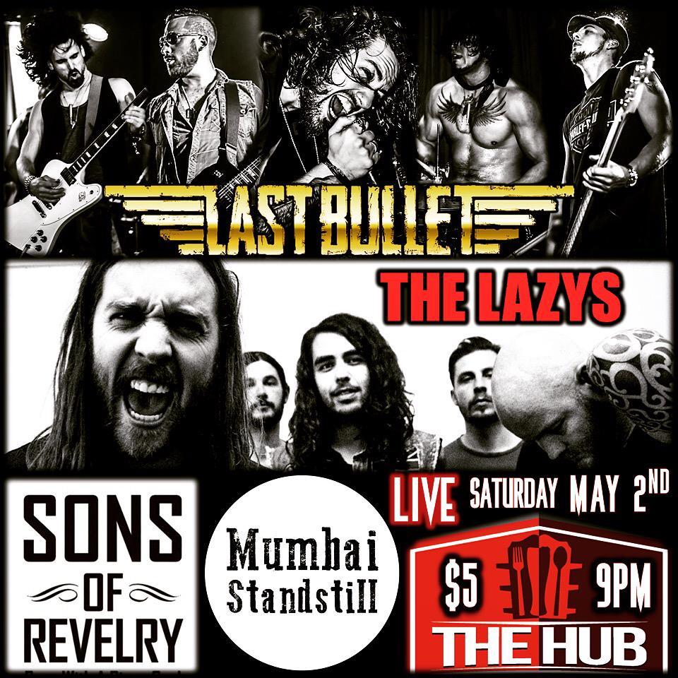 Hey @oshawacity! On May 2nd we're gonna raise hell @TheHubOshawa w/ @thelazysband, @MumbaiStandBand & @SonsOfRevelry! http://t.co/DFV4fBQAe8