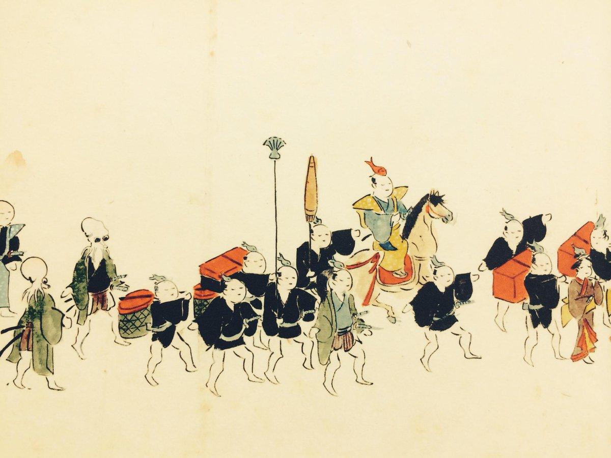 [神田祭展2015] 一年に一度でいいから、みんなで頭にお魚乗っけて町を練り歩けたら、どんなに楽しいことか・・・江戸時代の附祭の様子が描かれた全長約44mの図巻を見ていると、当時の楽しさが伝わってきます。展覧会はいよいよ明日スタート! http://t.co/men69bGZtF