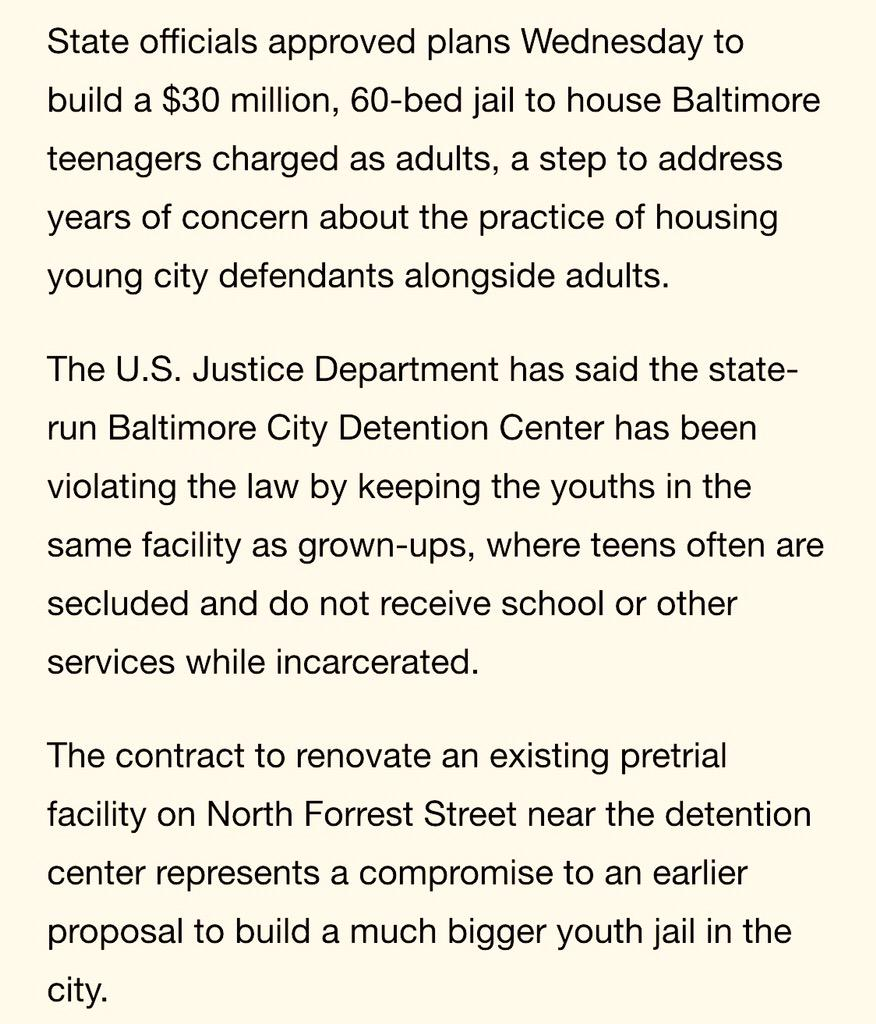$30 mill/60 kids = $500k per child RT @deray: State approves $30 million Baltimore youth jail http://t.co/cZbnezy6Cx http://t.co/XVVPv6jv5o