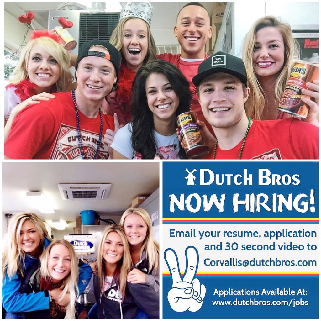 dutch bros corvallis on we re hiring email us your dutch bros corvallis on we re hiring email us your resume application and a short 30 second video to corvallis dutchbros com