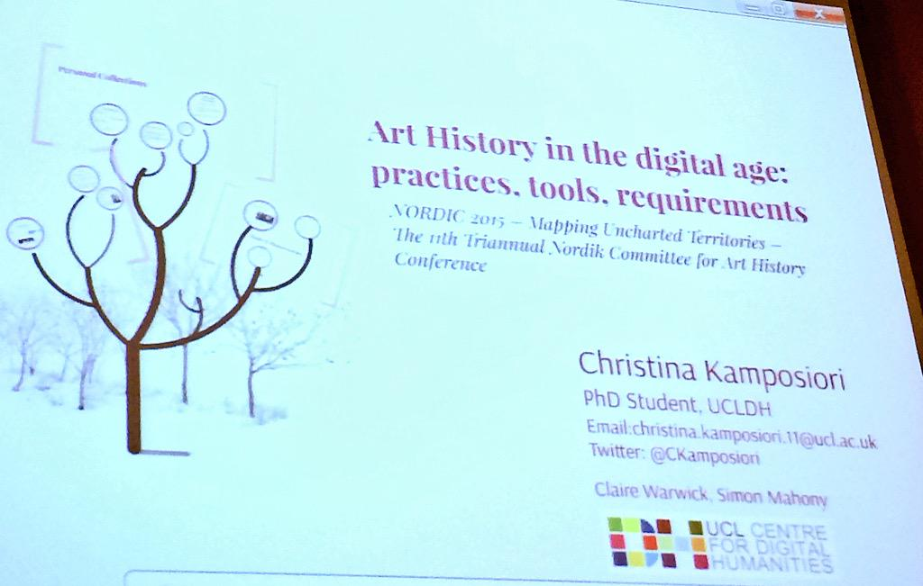 First up: @CKamposiori from @UCLA_DH on digital practices of #arthistorians #NORDIK2015 #digitalarthistory http://t.co/VnN0d69MKK