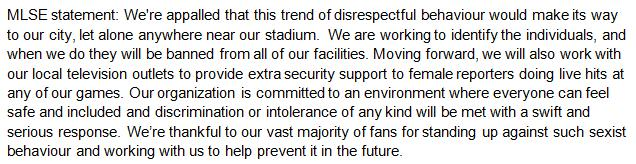 MLSE statement addressing company actions following Sunday's incident: http://t.co/1GUI1r4H7y