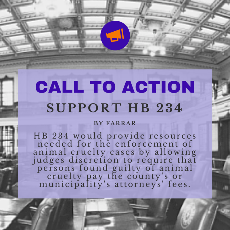 Call your state rep. today and ask to support #HB234 by Farrar to encourage animal cruelty case enforcement. #txlege http://t.co/G1xrTDAwbc
