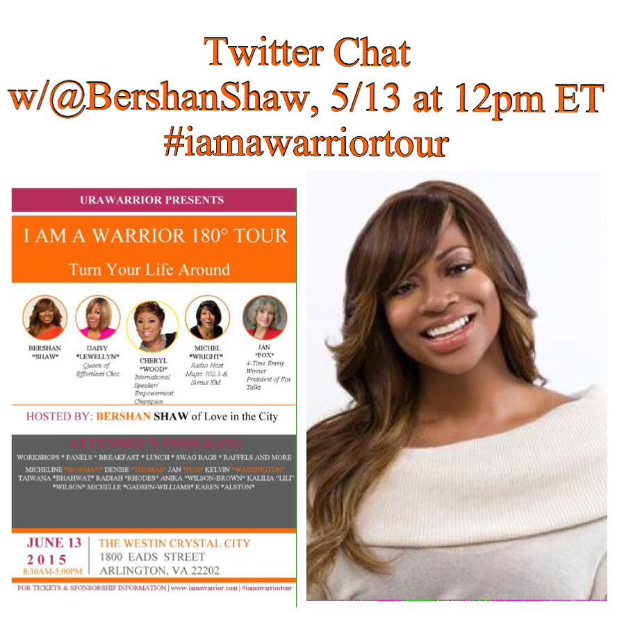 Join me on 5/13 @12pm EST for the #iamawarriortour chat w/ @bershanshaw http://t.co/U8Ut6hUqpX