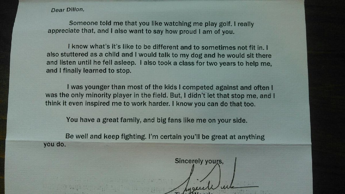 Here's the letter Tiger Woods wrote to the bullied boy who stutters RT @ronsirak http://t.co/aE6U20aWC5
