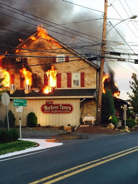 The Buckeye Tavern in Macungie is on fire. We wish the best for the owners. This is crazy. http://t.co/XHkxeMtLz8