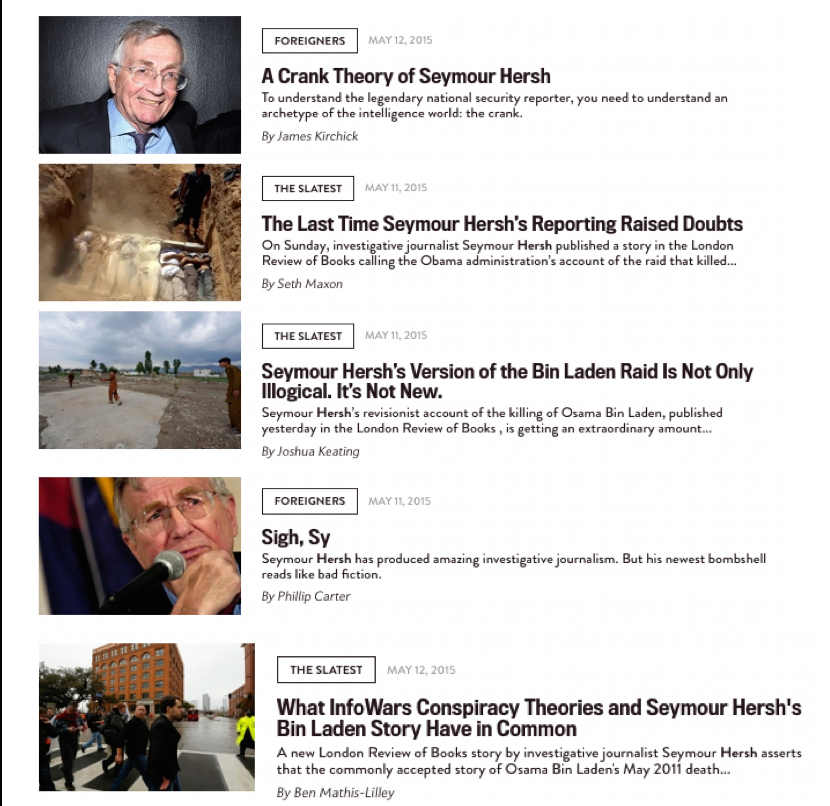 Wow. Slate managed to publish FIVE Hersh smear pieces is less than 36 hrs. It's almost as if they have - an agenda! http://t.co/ow3GYBUKJc