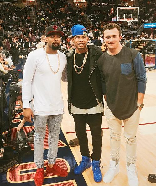 Joe Haden, Johnny Manziel and Odell Beckham Jr. at the Cavs game tonight. Guess how I feel about those denim joggers. http://t.co/6Ab0VAsrOf