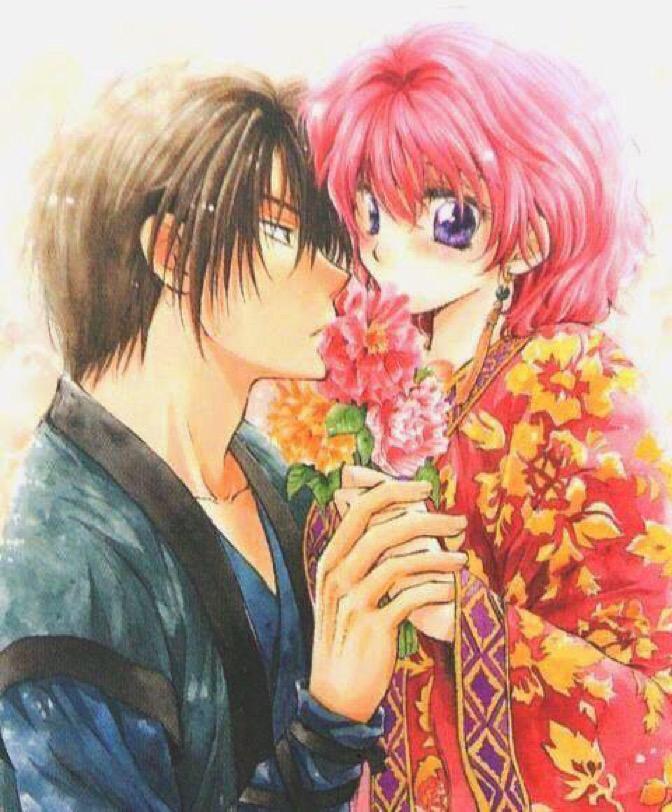 花越しにキスをする暁のヨナのイラスト