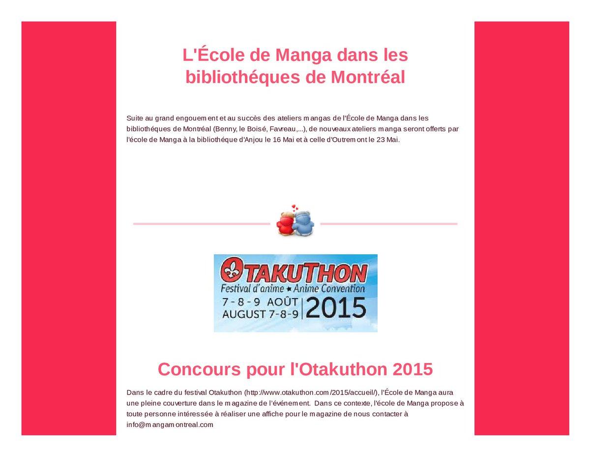 """mangamontreal on Twitter: """"L'École de Manga Japonais de Montréal ..."""