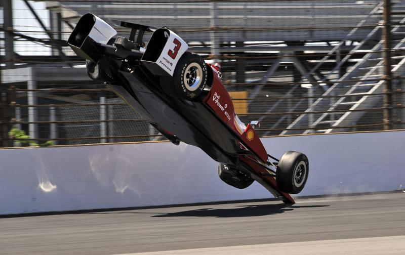 Here are the @AP photos of Helio's  car as it went airborne. Beyond thankful he's OK. #Indy500 http://t.co/uYTBecGxh5