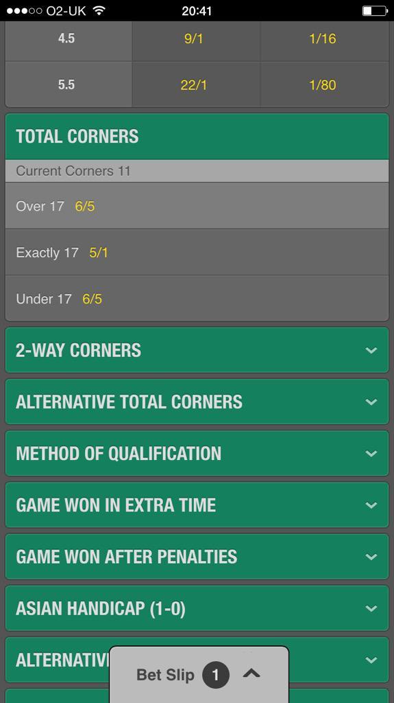 2 way corners betting