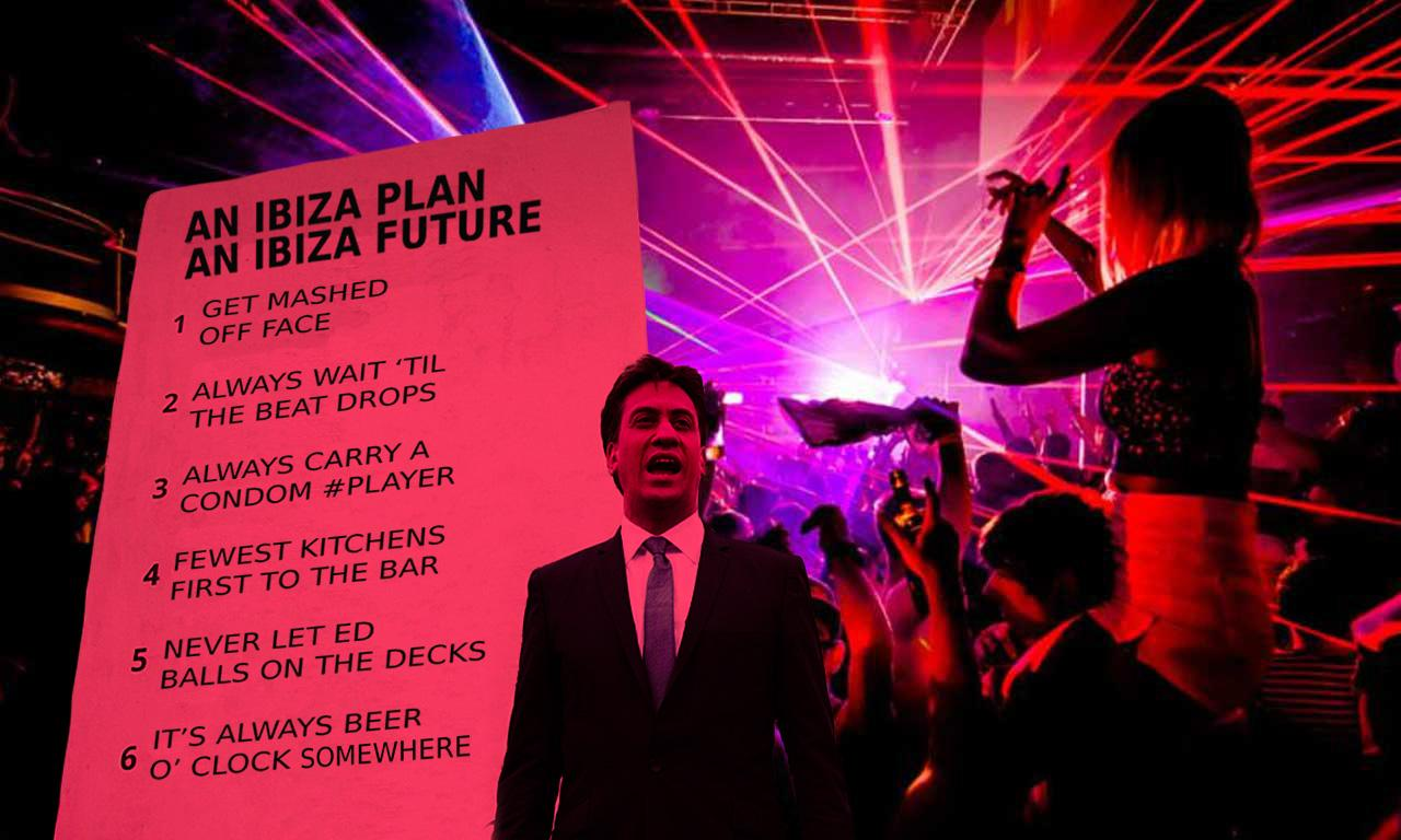 RT @haveigotnews: Ed Miliband unveils new list of pledges in Ibiza. http://t.co/d3KbtR3sub