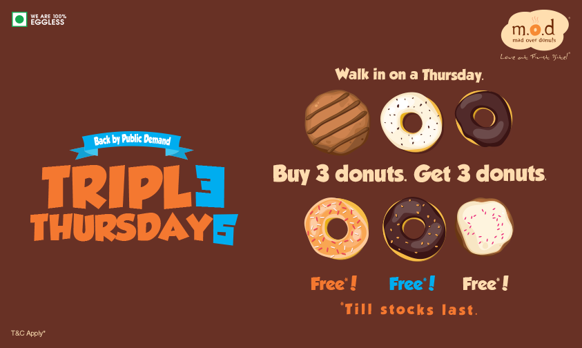 #TripleThursdays are here! Buy 3 donuts, get 3 FREE*! RT to stand a chance to win a box of delicious donuts #contest http://t.co/zeGxZ0iYra