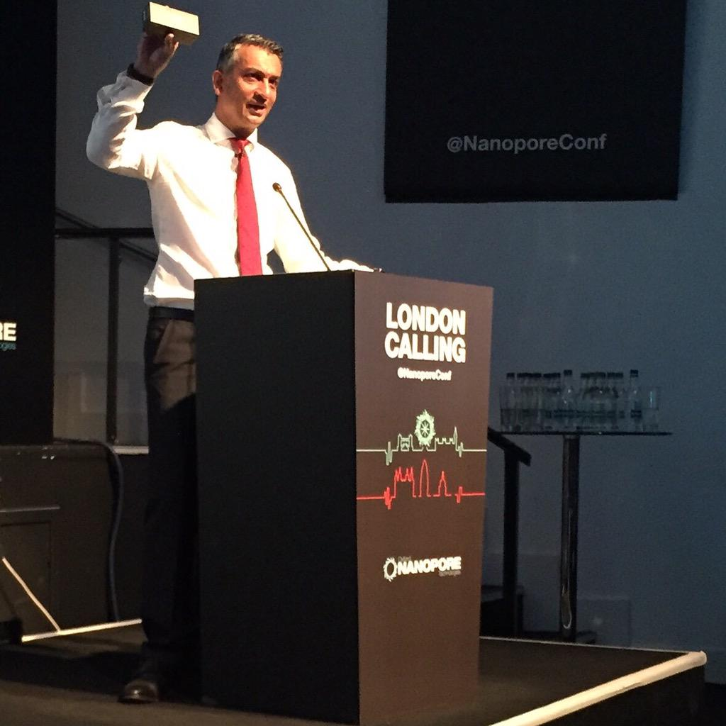 """Each & every delegate goes home with a DNA sequencer"" - Gordon Sanghera, says #nanoporeconf is punk/New Wave http://t.co/dL3WI0MzrR"