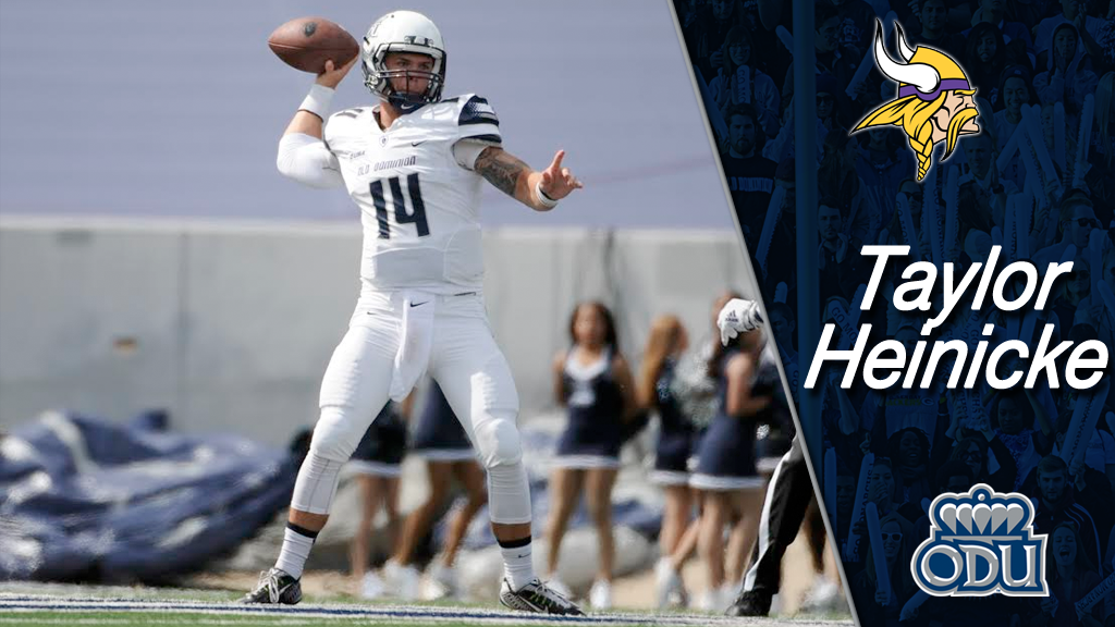 Taylor Heinicke signs as free agent with Vikings and long snapper Rick Lovato with the Bears #ODUFB #ODUSports http://t.co/imnYorz1c8