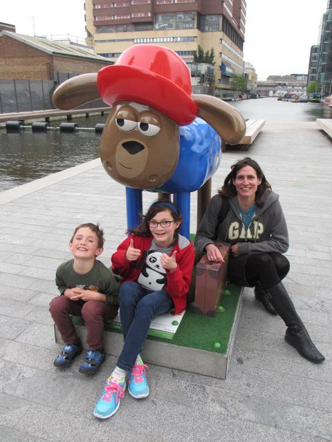 All 50 @shaun_inthecity sheep rounded up. At the finnish - Paddington Shaun with a royal baby in the building behind! http://t.co/DZXvSfeW60