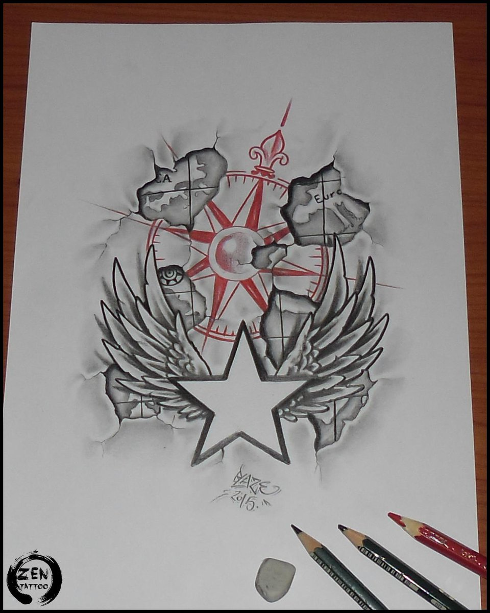 zen tattoo zagreb on twitter compass tattoo design pencil drawing by blaze art compass. Black Bedroom Furniture Sets. Home Design Ideas