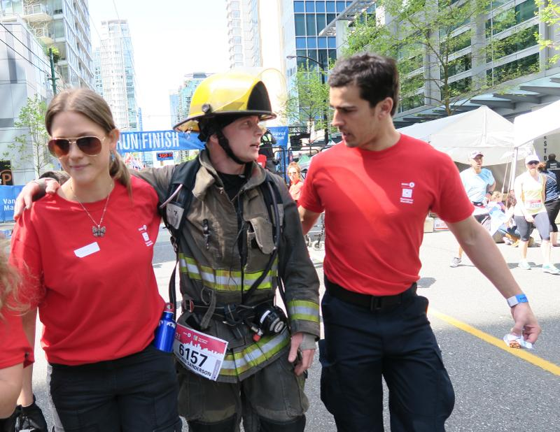 Congrats to Stephen Sanderson for completing the #bmovm in firefighter gear to raise awareness for Muscular Dystrophy http://t.co/e1ZD6PlwsG