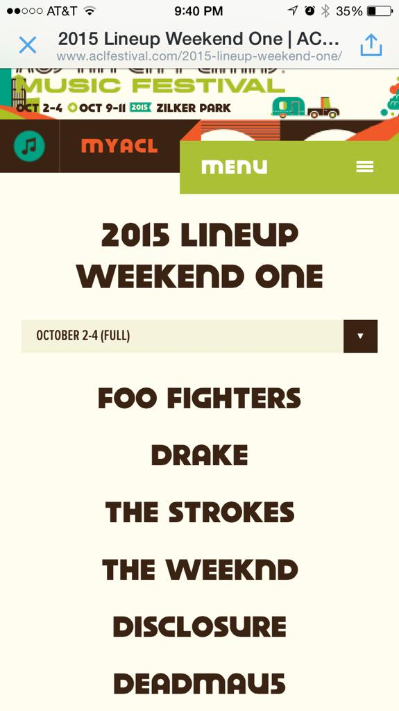 Looks like the #ACLFest lineup got posted early on the actual site. Confirmed yet? http://t.co/dyXMa3MhQX