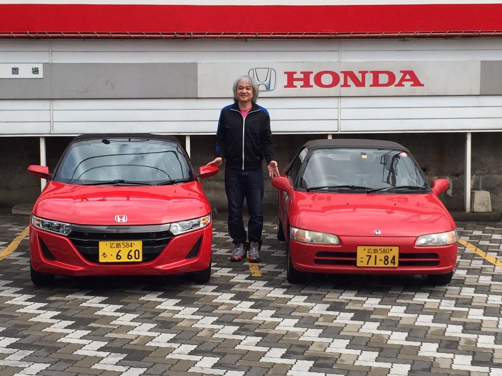 というわけで「行く年来る年」ならぬ「行く車来る車」(*^^*)最初で最後の2ショット!ありがとうビート!そして初めましてS660!! http://t.co/pmplR4GalG