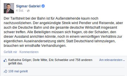 Neue Kernkompetenz der #SPD-Spitze: Streikenden in den Rücken fallen. http://t.co/iDaqlkPFyX