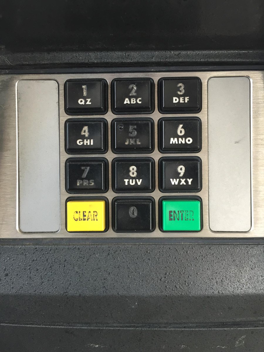 Gas station keypad. Debit cards use PINs, CCs use postcode. Local postcode is 75075 /c @thorsheim http://t.co/tcyMFPUcu2