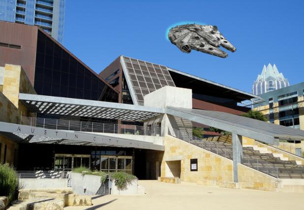 Spotted over City Hall today... #Maythe4thBeWithYou http://t.co/PxQL5iaF2b