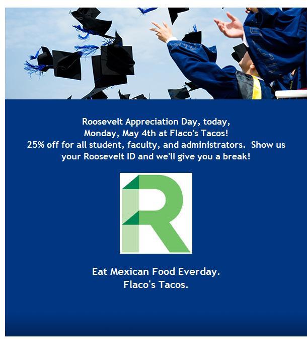 Flaco's Loves Roosevelt University! http://t.co/MwogSpeVDA http://t.co/GVk1zvGxcX