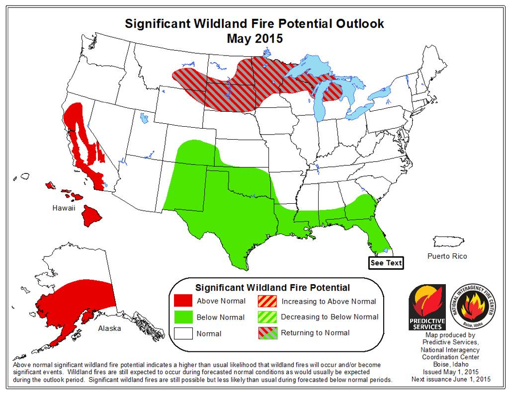 Map of fire potential for U.S.