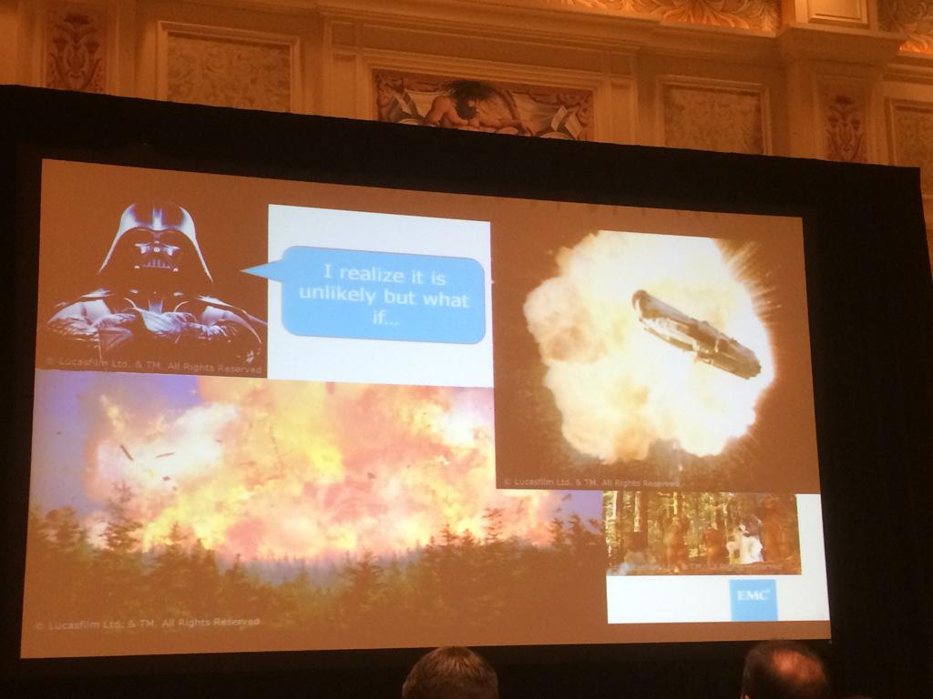 Loving the Star Wars role play. Too funny!  #EMCAvailabilityRocks #EMCWORLD http://t.co/F2HeTFXKeQ