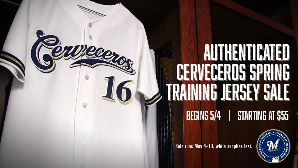 c17b7a1e78f ... hot milwaukee brewers on twitter visit milauthentics for their special cerveceros  jersey sale this homestand t