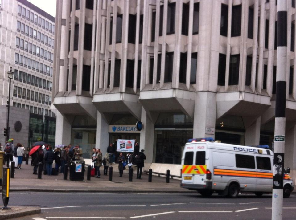 RT @OccupyLondon: #occupydemocracy The People v PFI tour continues outside Barclays with police escort #dangerousideas #olsx http://t.co/Ud…