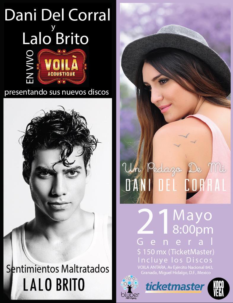 ¿Ya tienes tus boletos para @danidelcorral y @lalobrito ? CORRE POR ELLOS! http://t.co/9kzg4Z4iut