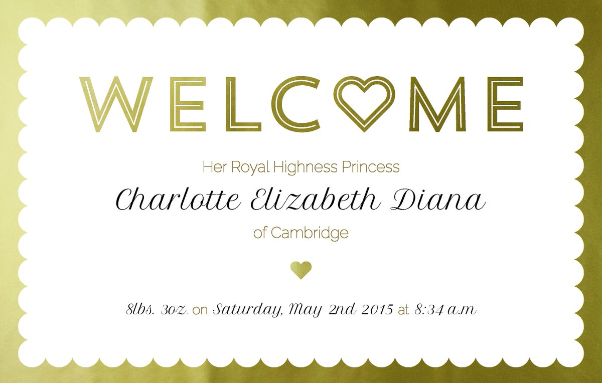 Welcome Charlotte Elizabeth Diana!   #RoyalBaby http://t.co/mh8OjZV4Y6