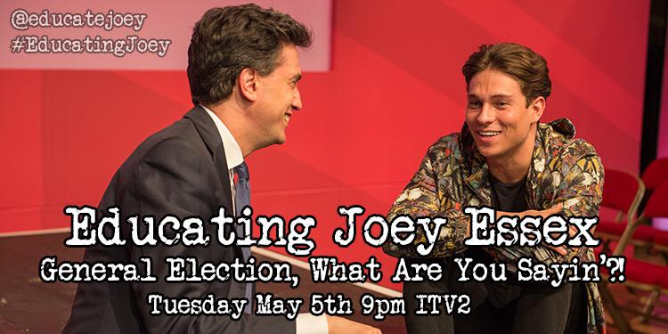 The #EducatingJoey General Election special is tomorro! Gonna talk to four political types arent I? YES http://t.co/2hELFm4HZQ