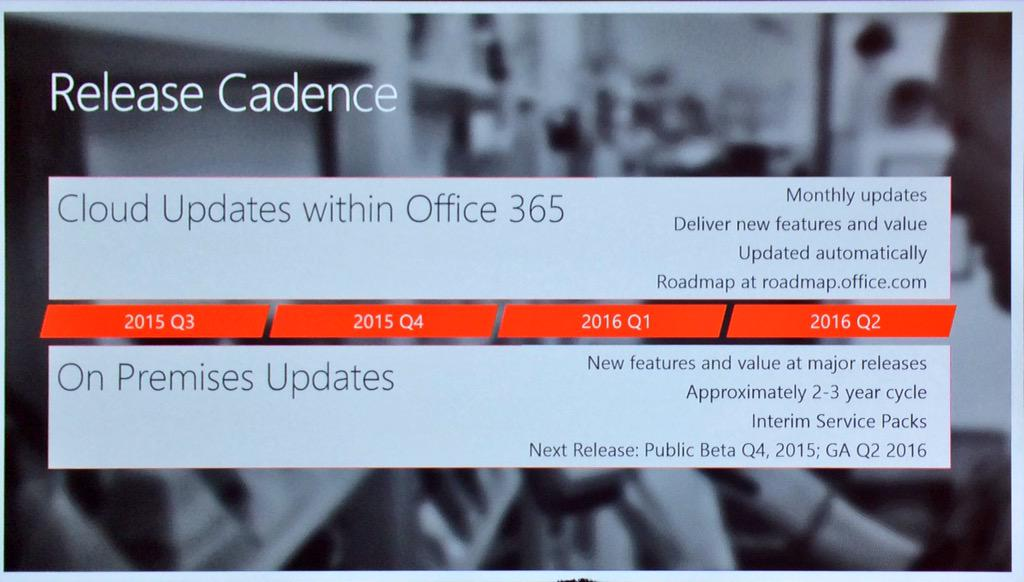 SharePoint 2016 will be in public beta Q4 2015 with general availability Q2 2016. #MSIgnite http://t.co/QtbYUoXXB8