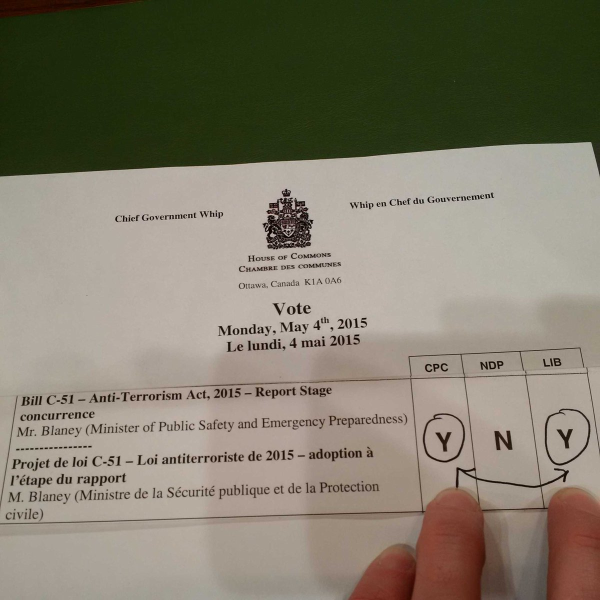 Liberals and Conservatives voting together tonight to bring dangerous #BillC51 one step closer to passing. Shame! http://t.co/x7nhjASqC2