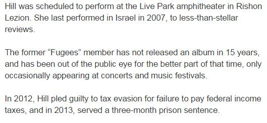 Look at the framing in this Israeli news site on @MsLaurynHill   http://t.co/idjHtF4voe http://t.co/9NVqbRKwLO