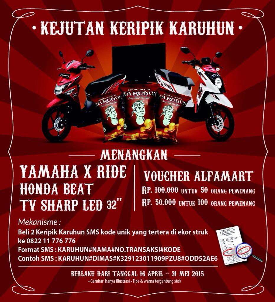 Yg hobi momotoran, mau motor gratis? Ikut Kejutan Keripik Karuhun di @alfamartku! Serbu sekarang,motornya bawa pulang http://t.co/kVALnfsvZ6