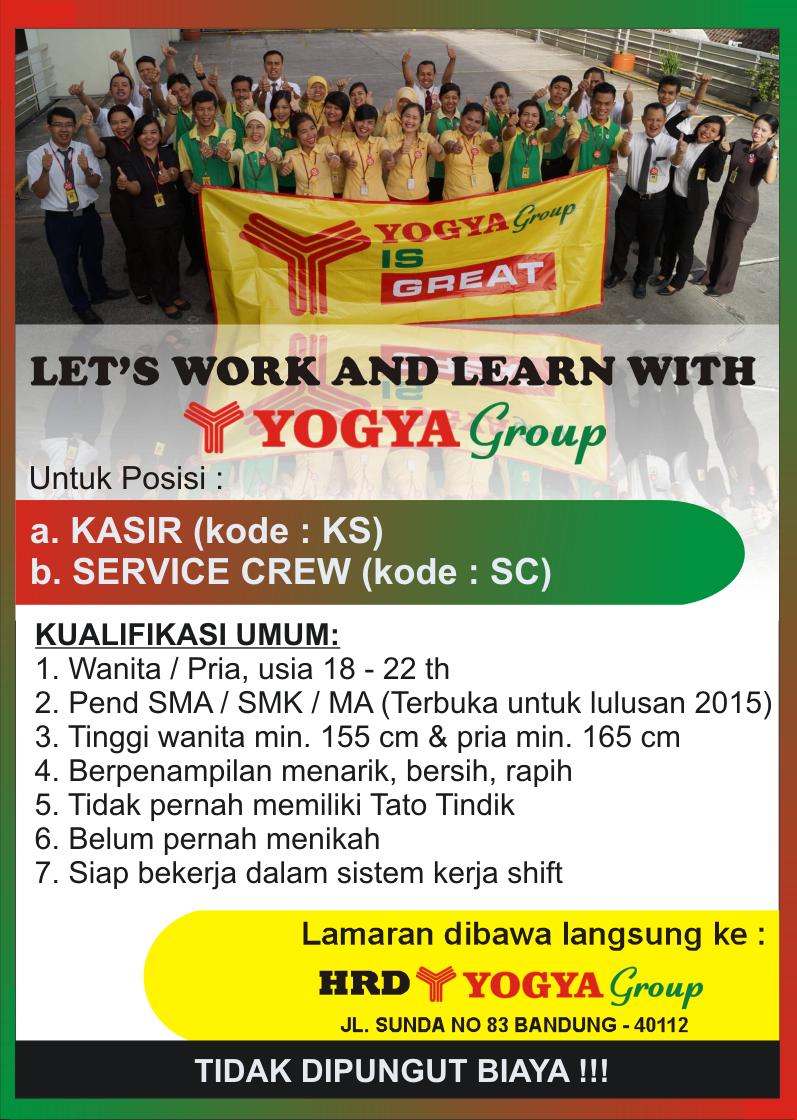 Twitter À¤ªà¤° Info Yogyagroup Loker Yogya Group Dibutuhkan Kasir Service Crew Lamaran Dibawa Langsung Ke Hrd Di Jl Sunda 83 Bandung Http T Co Yeuybzknth