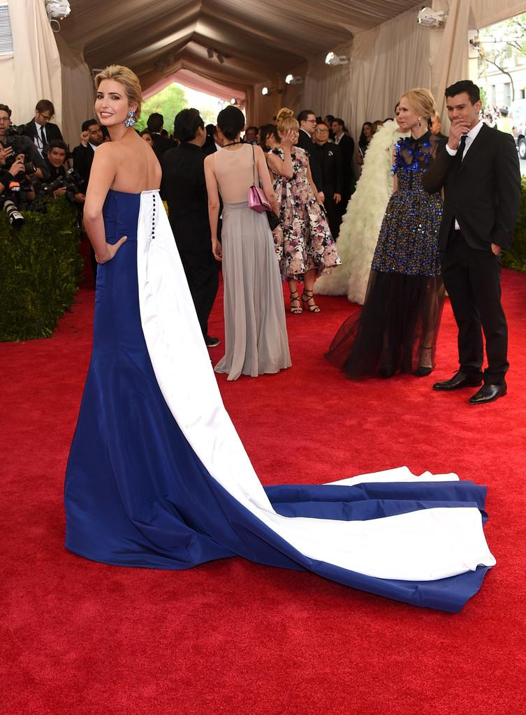 Ivanka trump wore a @prabalgurung strapless blue and white gown at ...